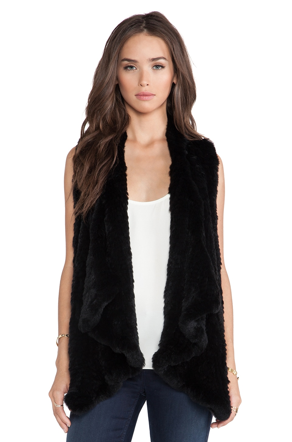 H Brand Audra Rabbit Fur Vest in Black