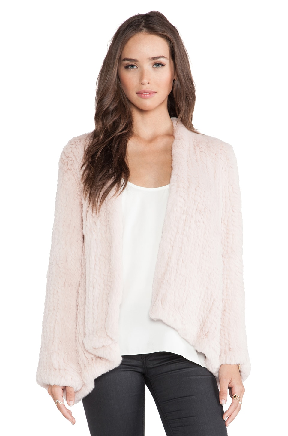 H Brand Emily Rabbit Fur Coat in Peony