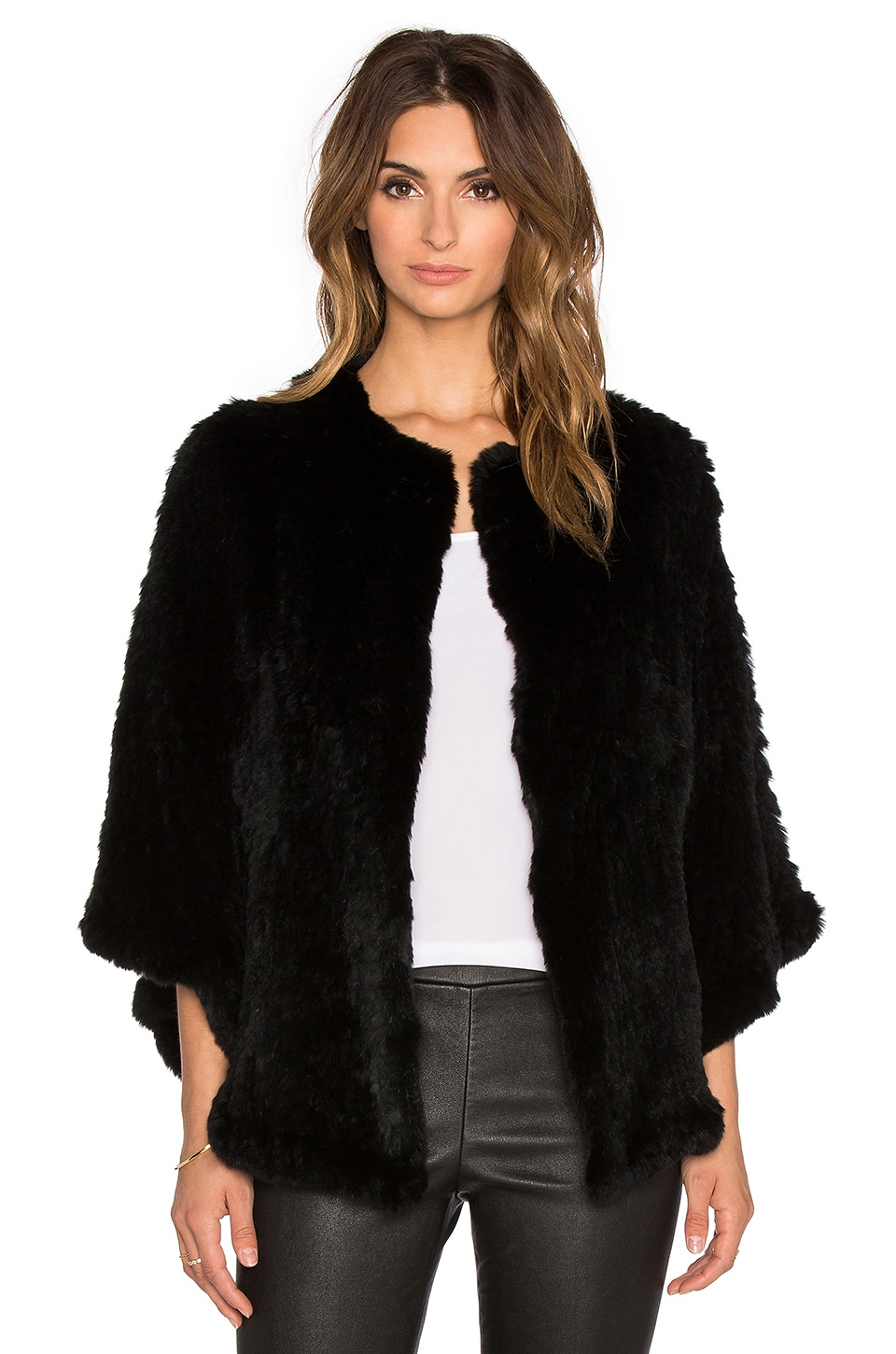 H Brand Arik Dyed Rabbit Fur Cape in Black