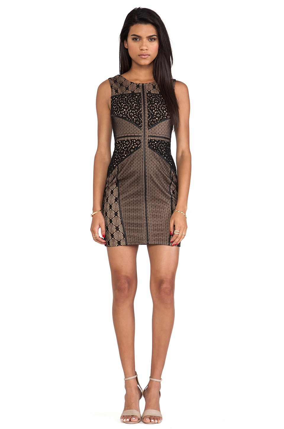heartLoom Wilson Mixed Lace Dress in Black