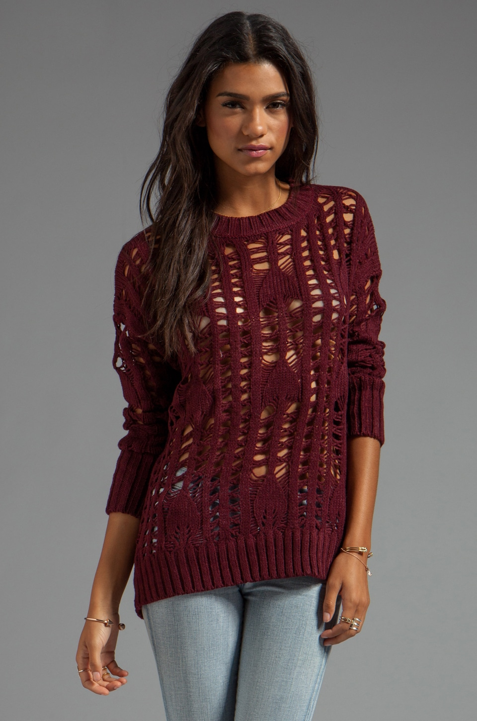 HEARTLOOM Samara Knitted Sweater in Merlot