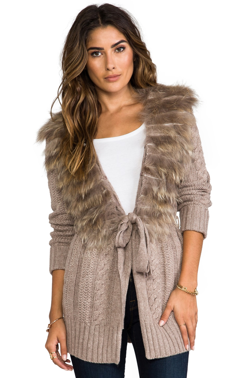 heartLoom Allie Fur Sweater in Taupe