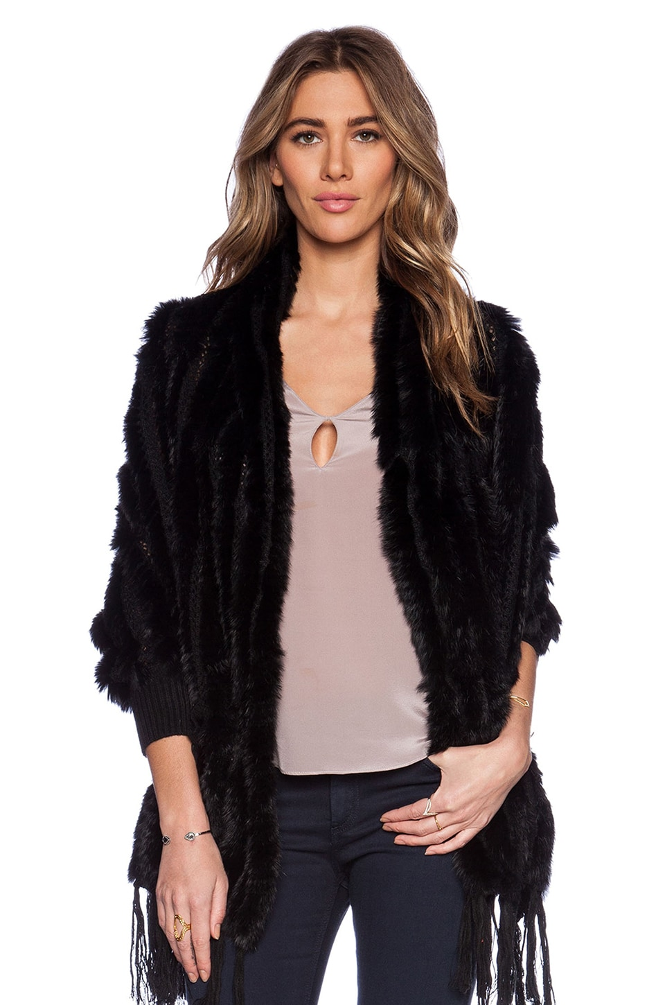 HEARTLOOM Shelby Rabbit Fur Wrap with Rabbit Fur in Black