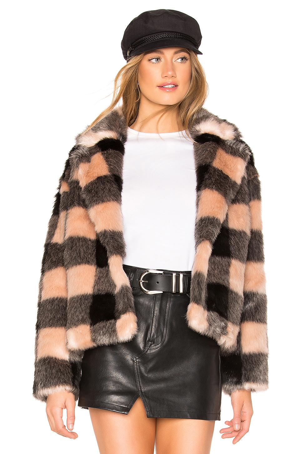 Heartloom HEARTLOOM ARIA FAUX FUR COAT IN PINK.