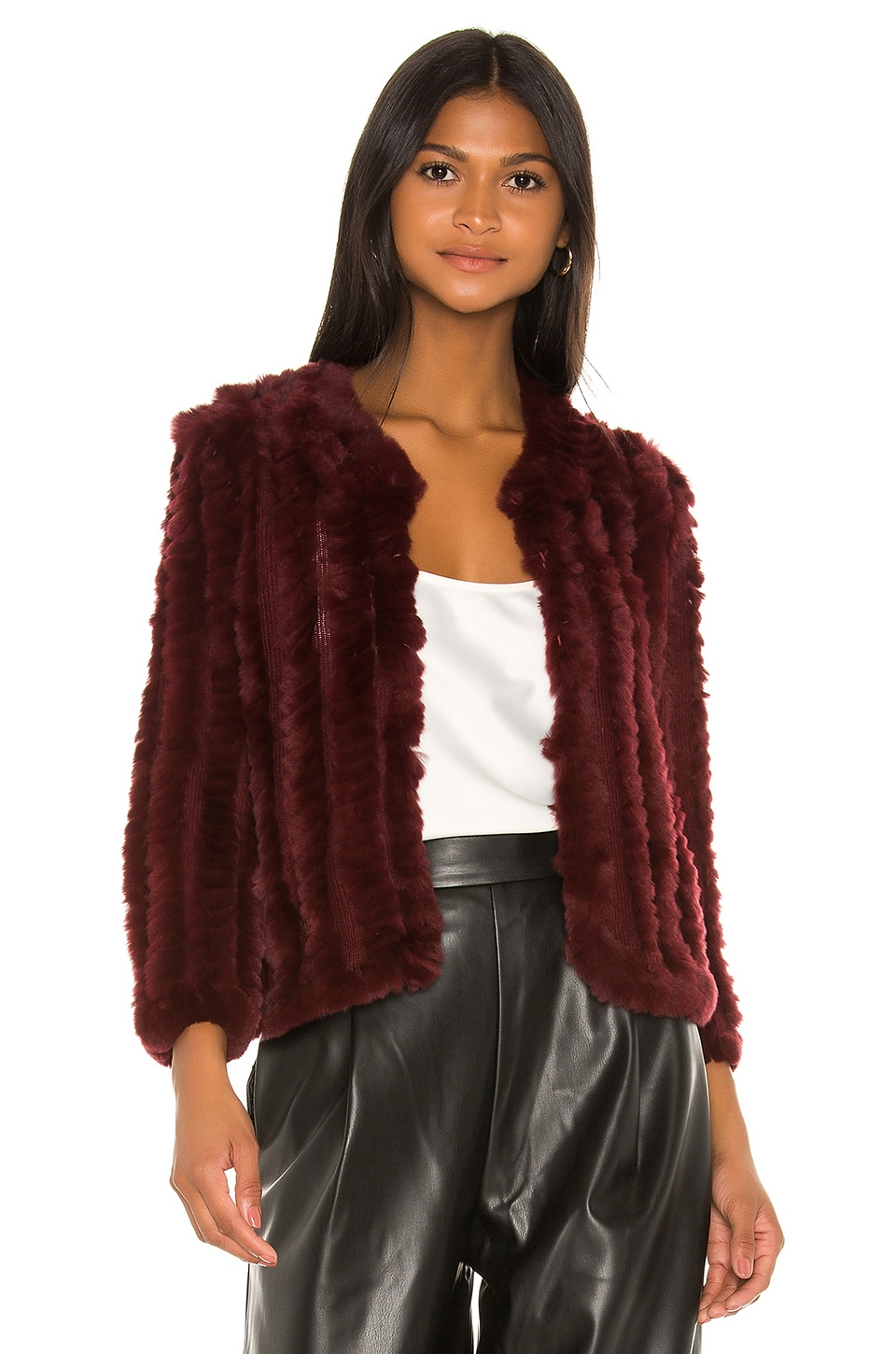 HEARTLOOM Rosa Fur Jacket in Wine