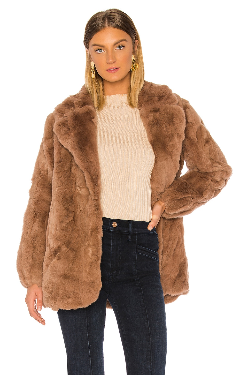 HEARTLOOM Luna Fur Coat in Toffee