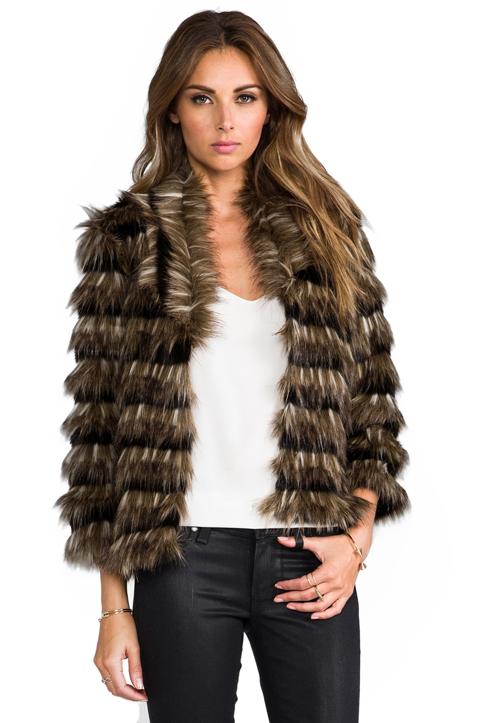 HEARTLOOM Sydney Faux Fur Coat in Natural