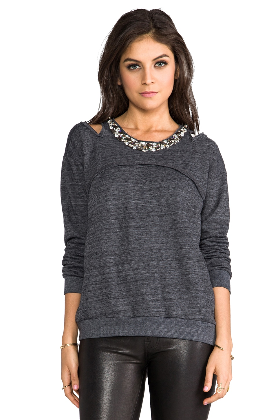 HEARTLOOM Clara Sweatshirt in Heather Tar