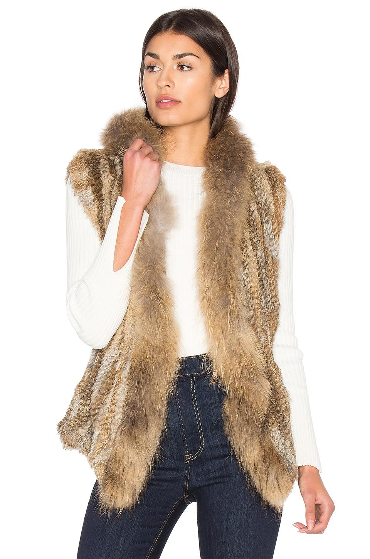 HEARTLOOM Lara Rabbit & Asiatic Raccoon Fur Vest in Natural