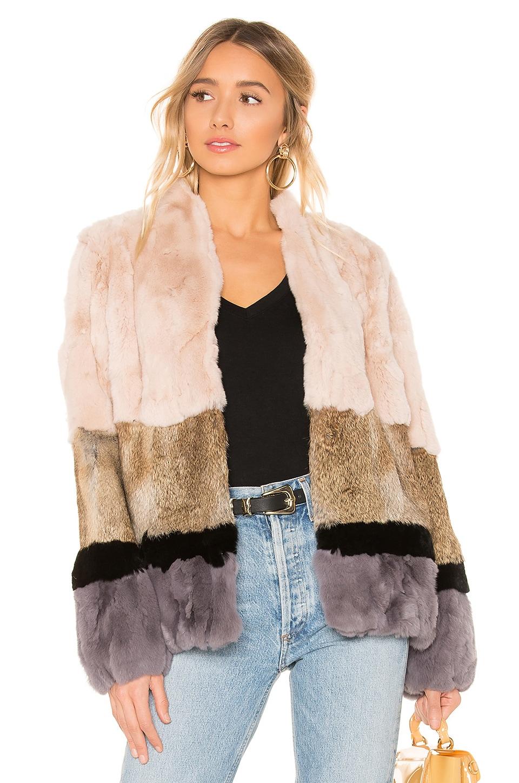 HEARTLOOM Chandler Rabbit Fur Jacket in Multi