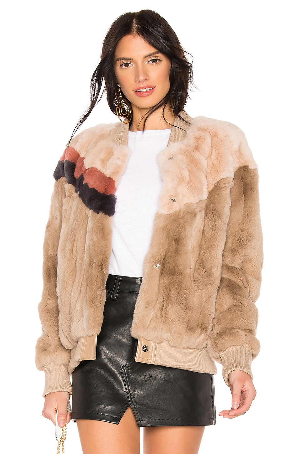 HEARTLOOM Meg Rabbit Fur Jacket in Latte