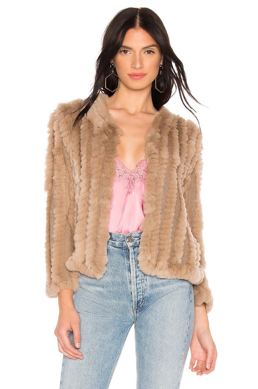 HEARTLOOM Rosa Rabbit Fur Jacket in Latte