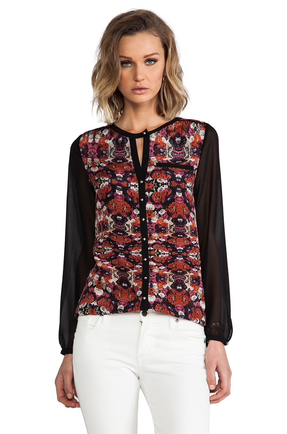 heartLoom Leslie Silk Floral Top in Onyx