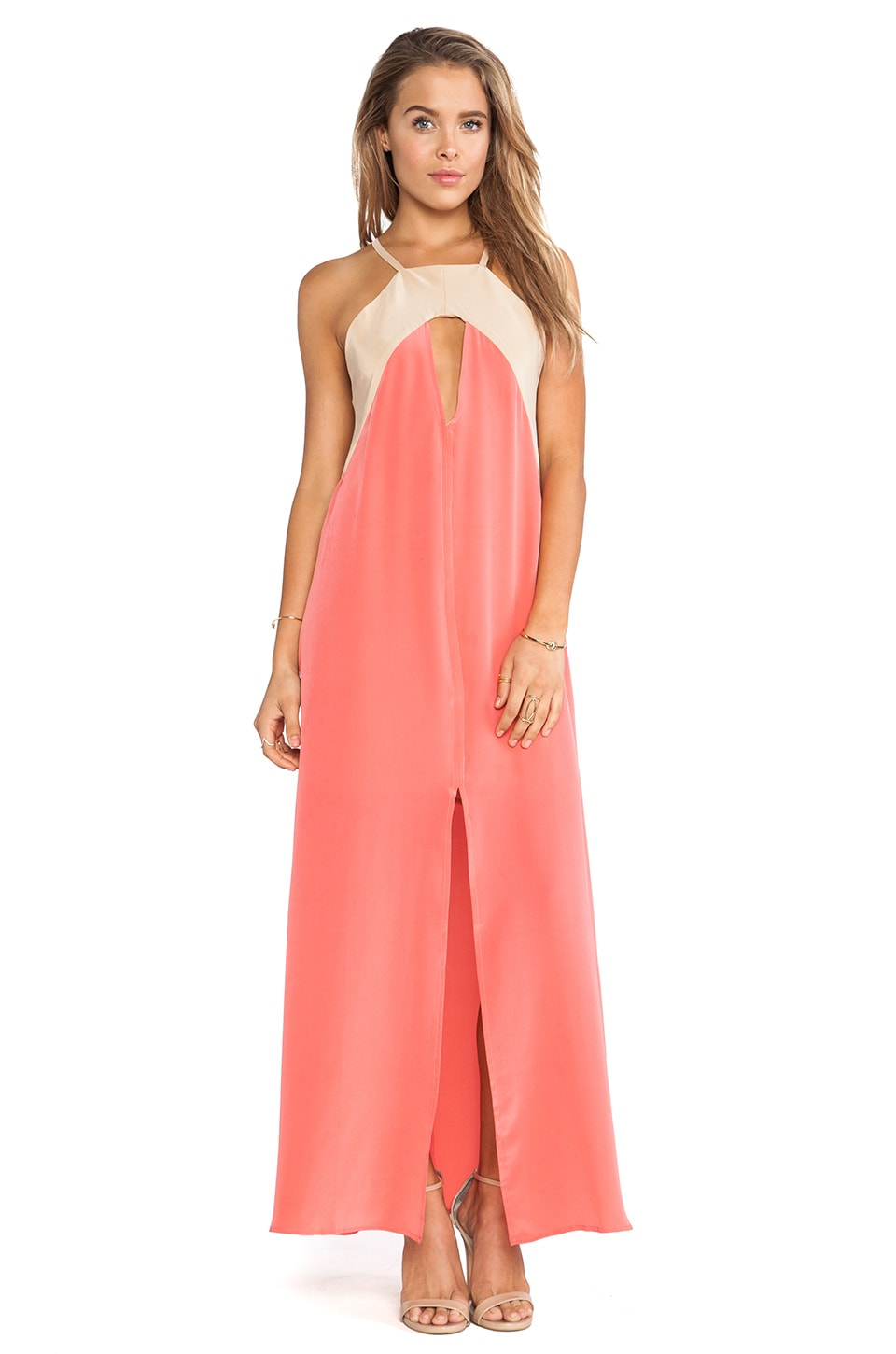 Helena Quinn Triangle Cut Out Maxi Dress in Pink & Cream