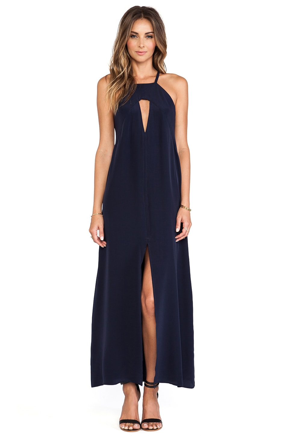 Helena Quinn Triangle Cut Out Maxi Dress in Navy