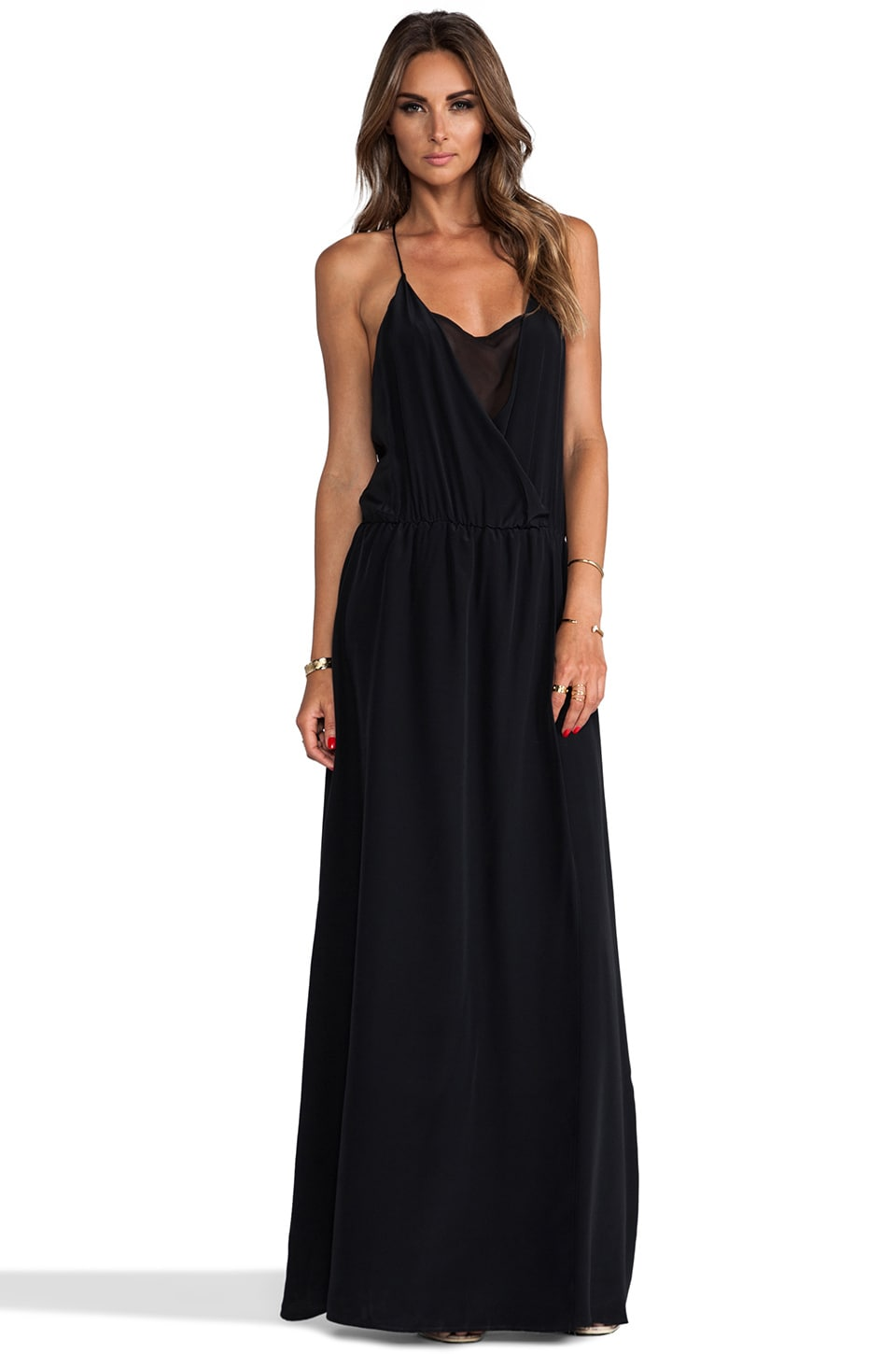 Helena Quinn Drape Front Maxi Dress in Black