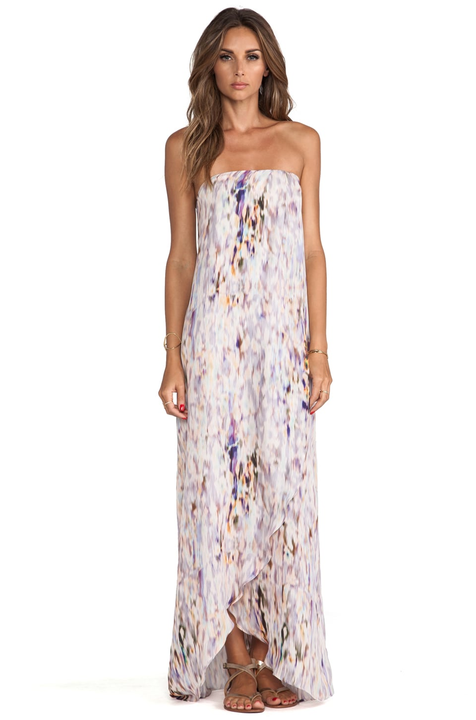 Helena Quinn Strapless Asymmetric Hem Maxi Dress in Watercolor