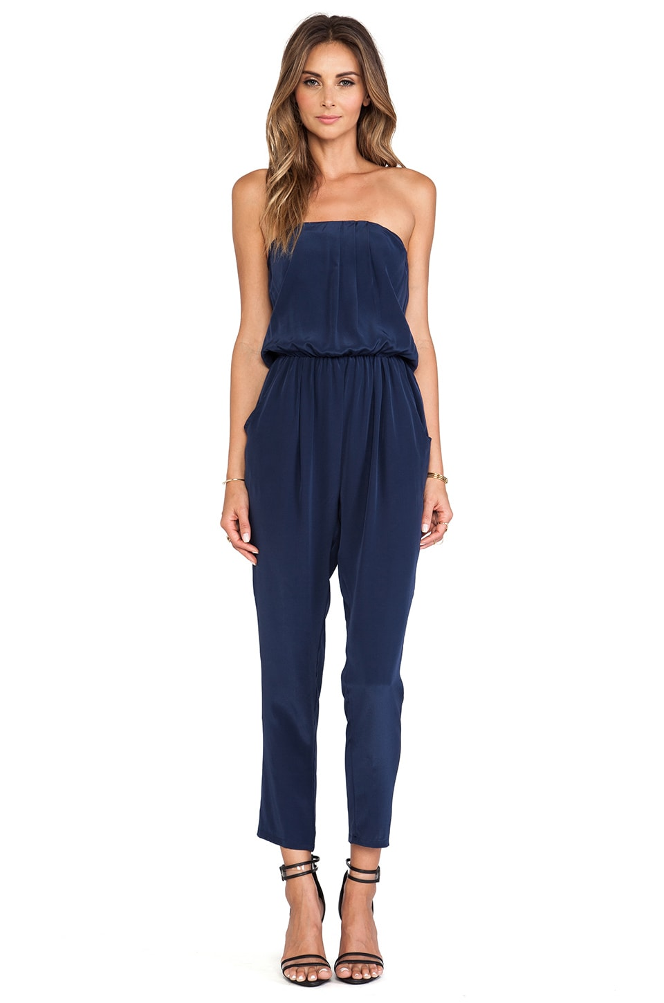 Helena Quinn Strapless Jumpsuit in Navy