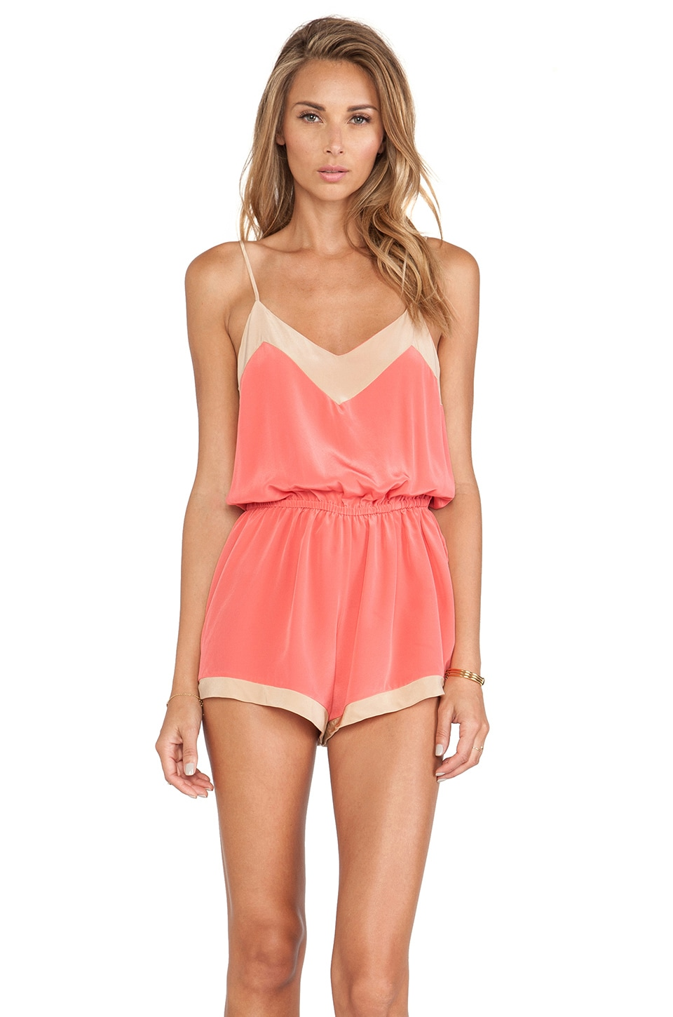 Helena Quinn Romper in Pink & Cream