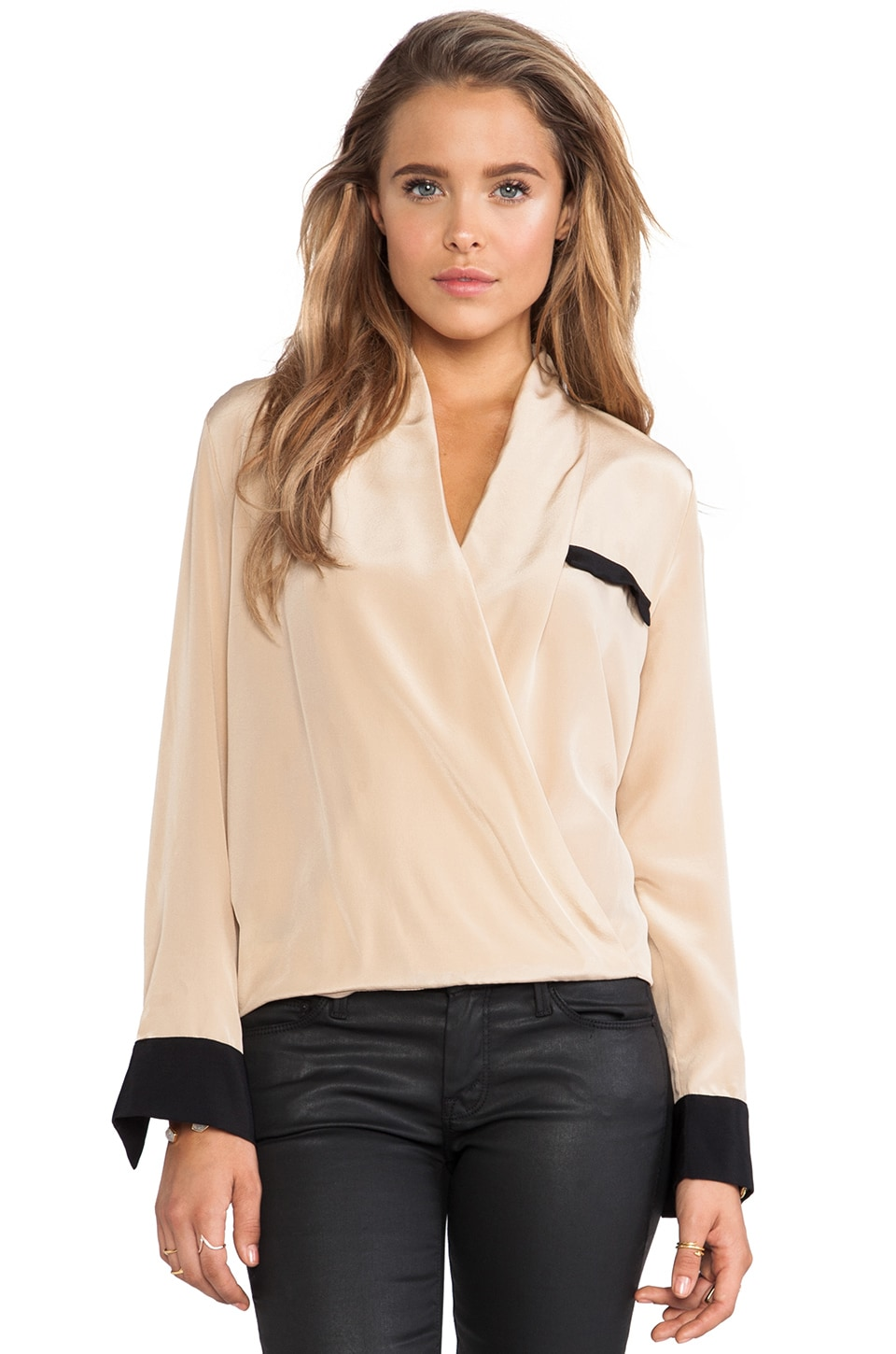 Helena Quinn Cross Front Blouse in Cream