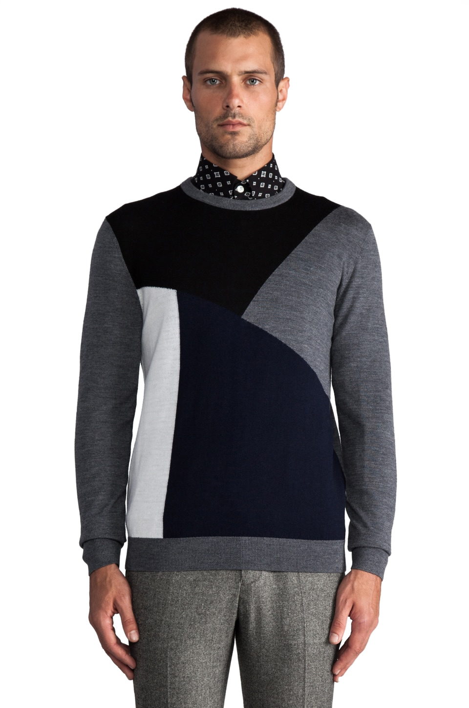 Hentsch Man Intarsia Sweater in Navy