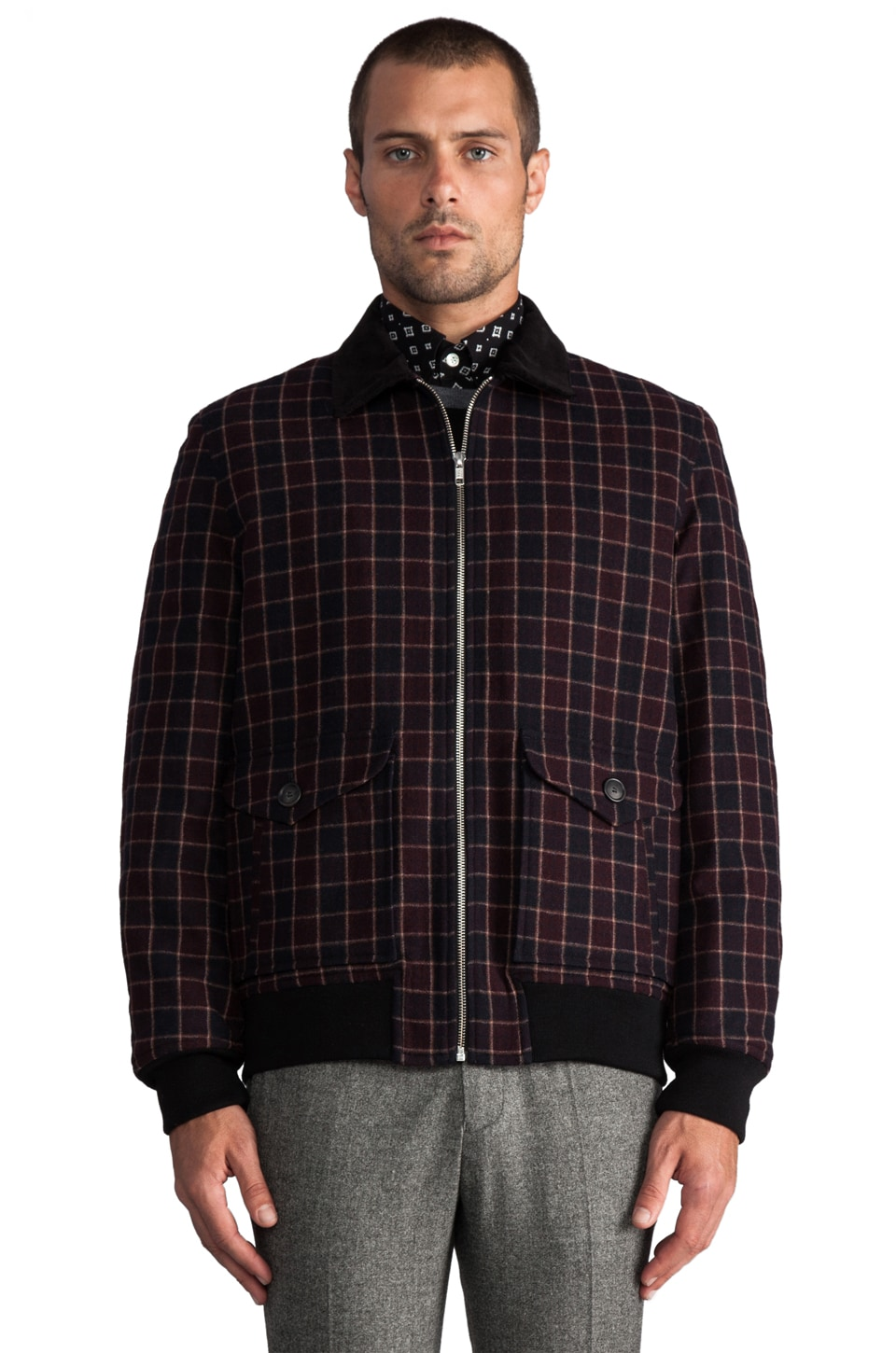 Hentsch Man Flight Jacket in Burgundy Squares