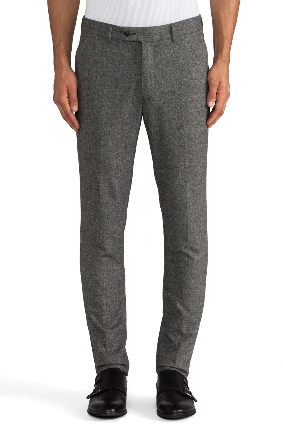 Hentsch Man Taper Trouser in Dark Grey Flannel