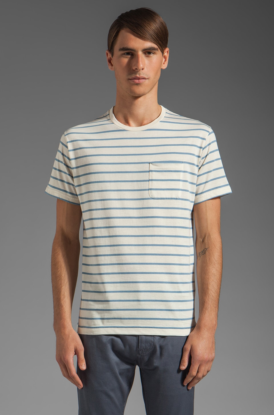 Hentsch Man Pocket Tee in Blue Stripe