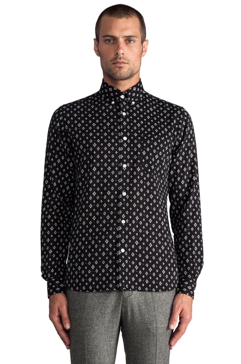 Hentsch Man Sunday Shirt in Black Stamp