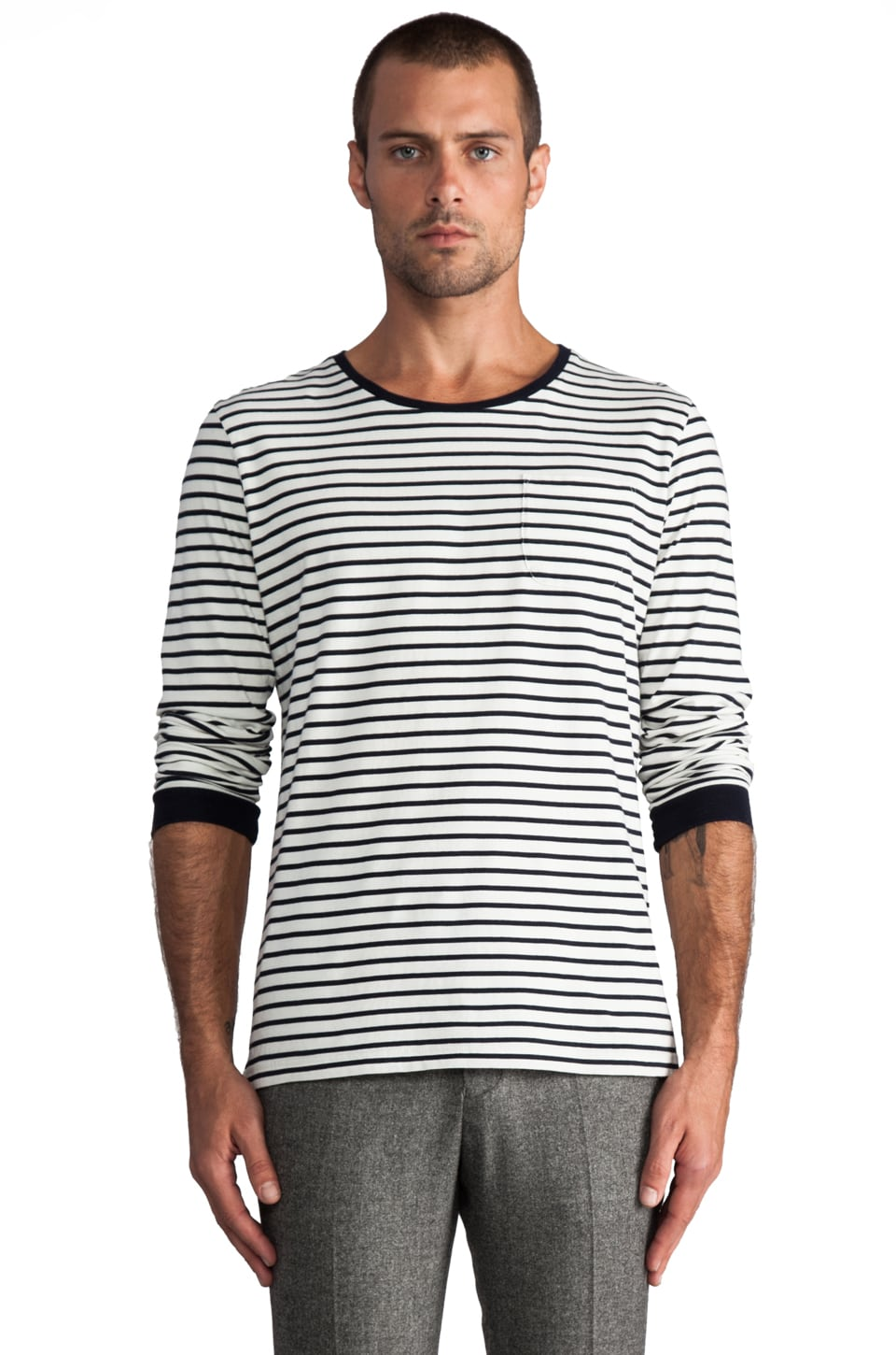 Hentsch Man Long Tee in Navy/White Stripe