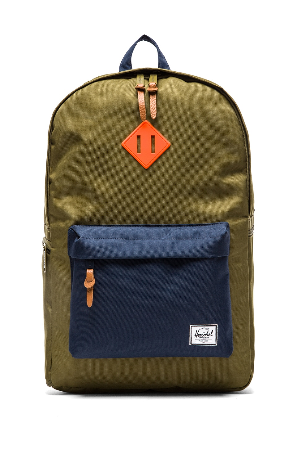Herschel Supply Co. Heritage Plus in Army & Navy & Neon Orange