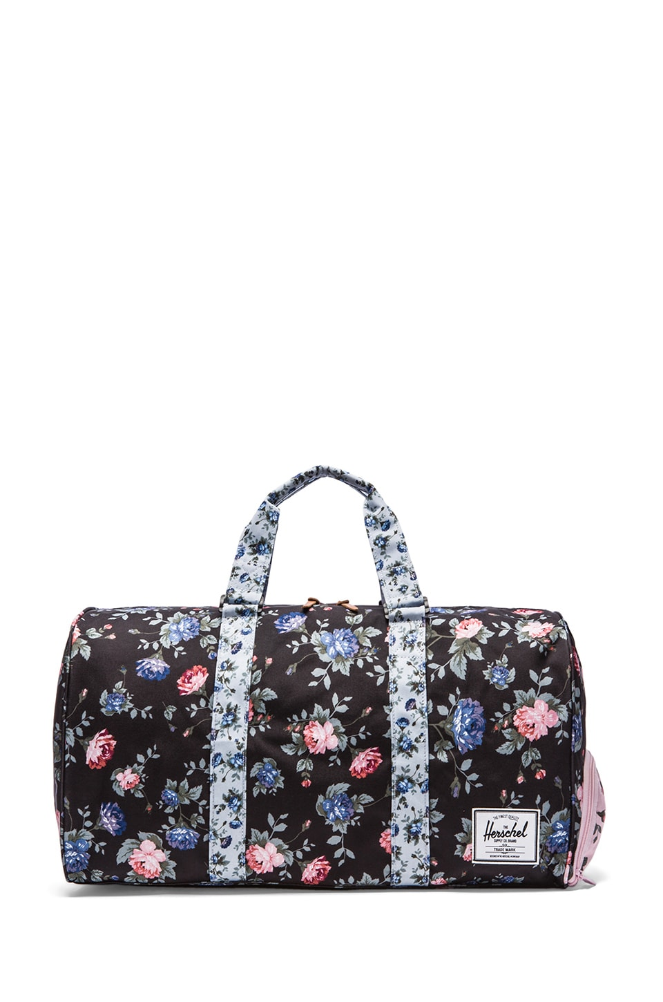 Herschel Supply Co. Fine China Collection Novel Duffle in Black Floral & Blue Floral