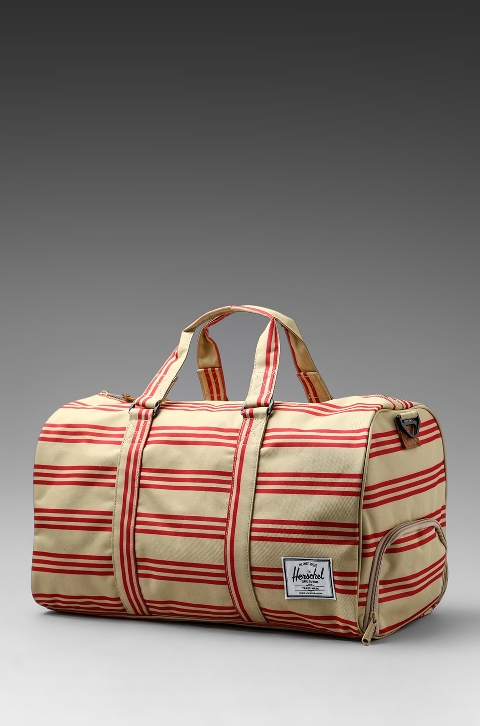 Herschel Supply Co. Invitational Collection Novel Duffle in Red/Khaki Stripe