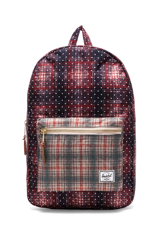 Herschel Supply Co. Settlement Backpack in Rust Plaid Polka Dot/ Grey Plaid