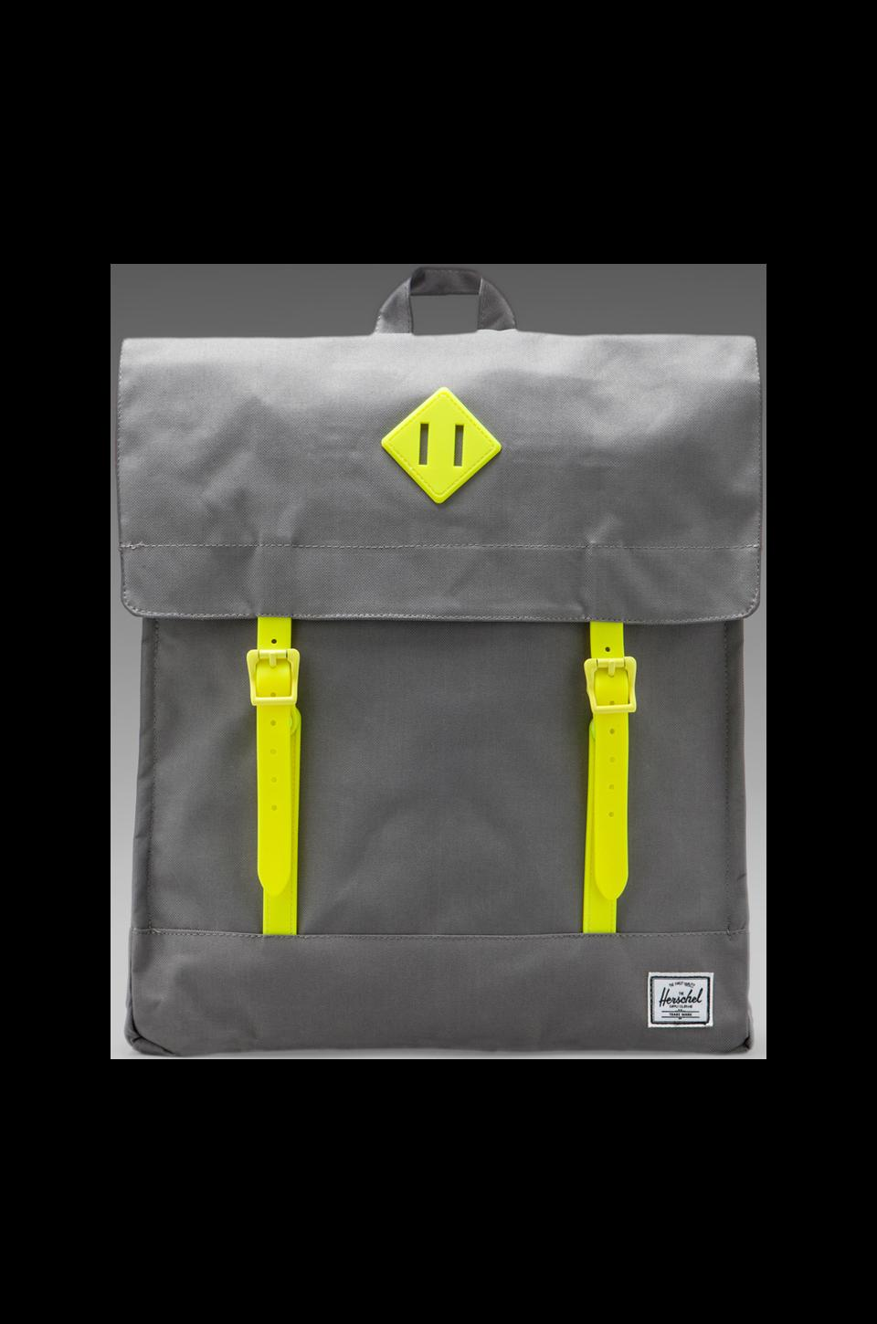 Herschel Supply Co. Weather Pack Survey in Grey/Yellow Rubber