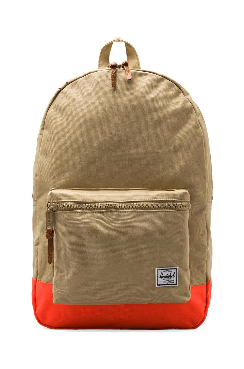 Herschel Supply Co. Weather Pack Settlement in Khaki/Neon Orange