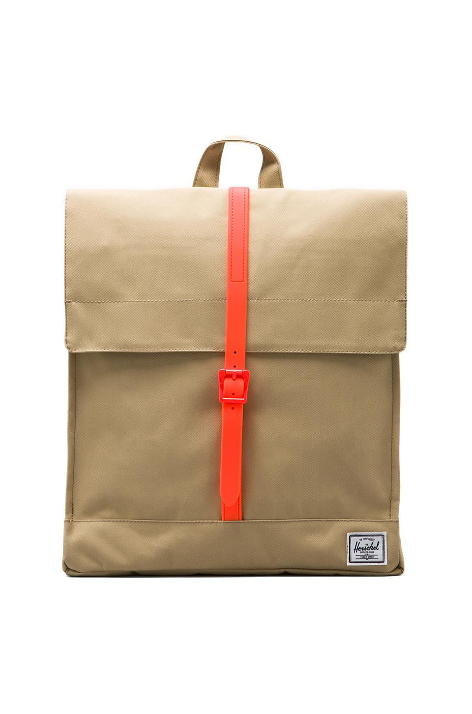 Herschel Supply Co. Weather Pack City in Khaki/Orange Rubber