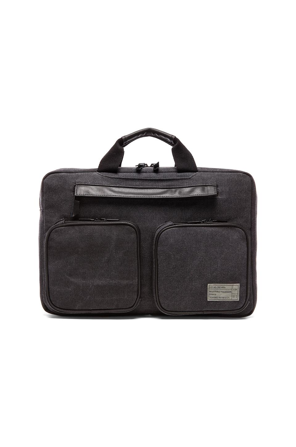 HEX Convertible Briefcase in Waxed Charcoal Canvas