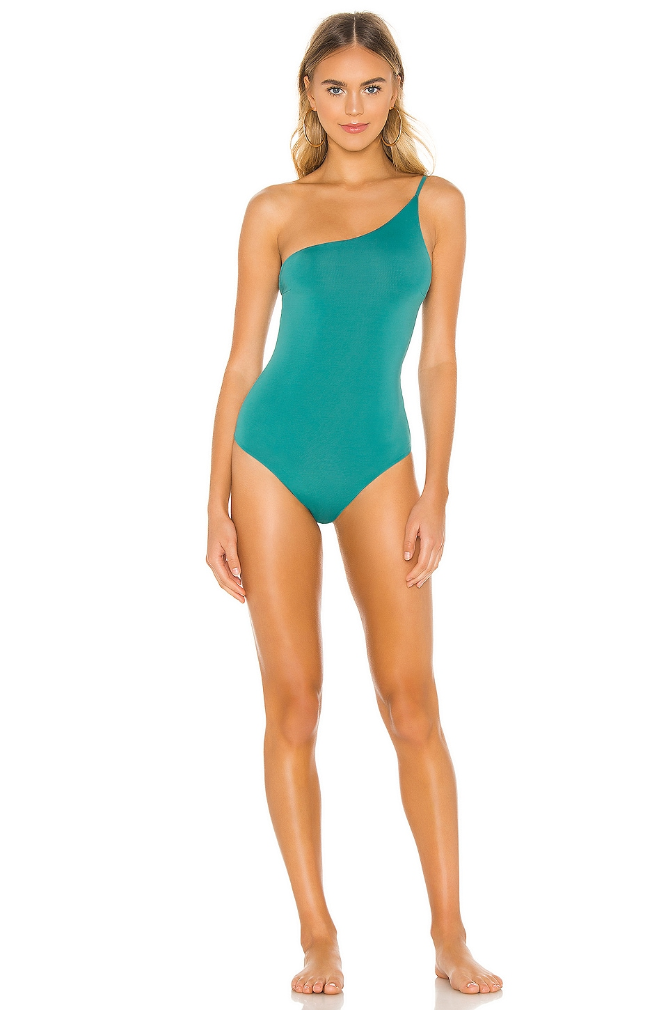 HAIGHT. One Shoulder Line Maillot in Basil
