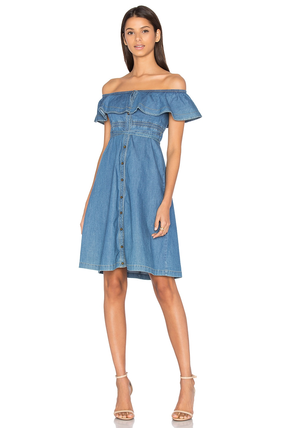Chambray Short Sleeve Midi Dress by Hilfiger Collection