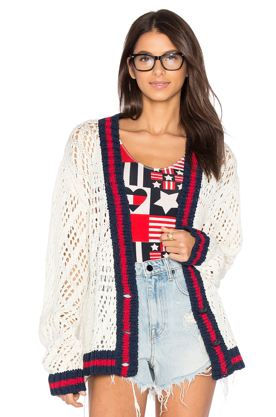 Hilfiger Collection V Neck Corporate Cardigan in Snow White