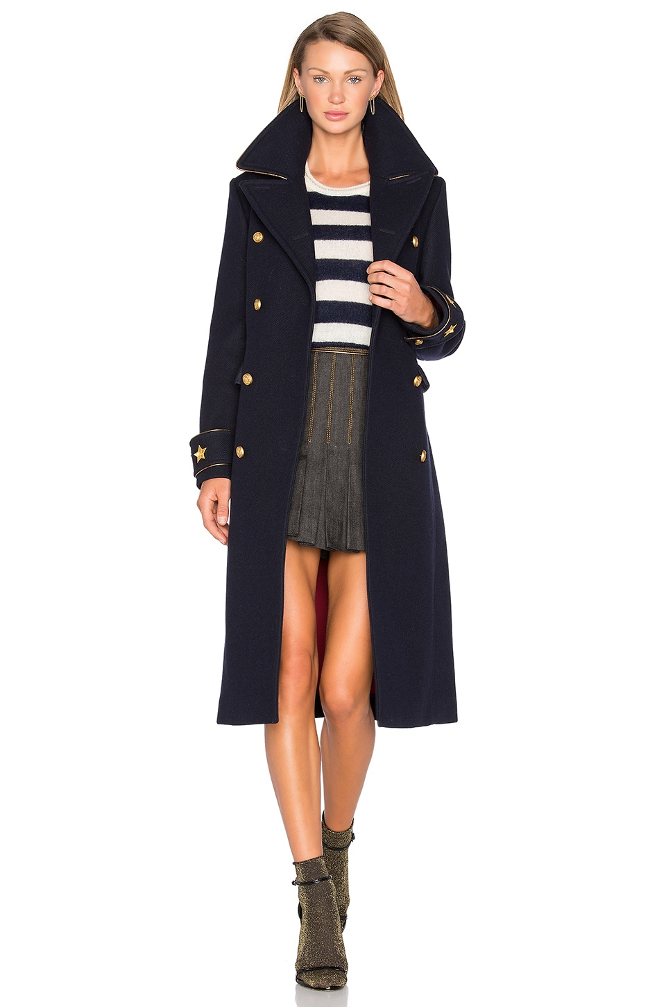 Hilfiger Collection Long Military Coat in Navy Blazer