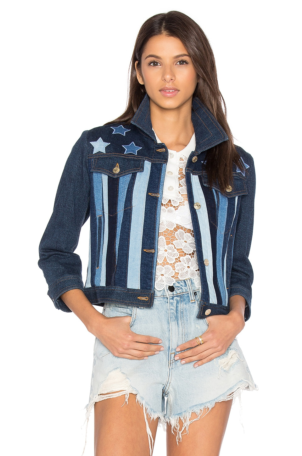 Hilfiger Collection Patchwork 5 Pocket Denim Jacket in Washed Denim & Multi