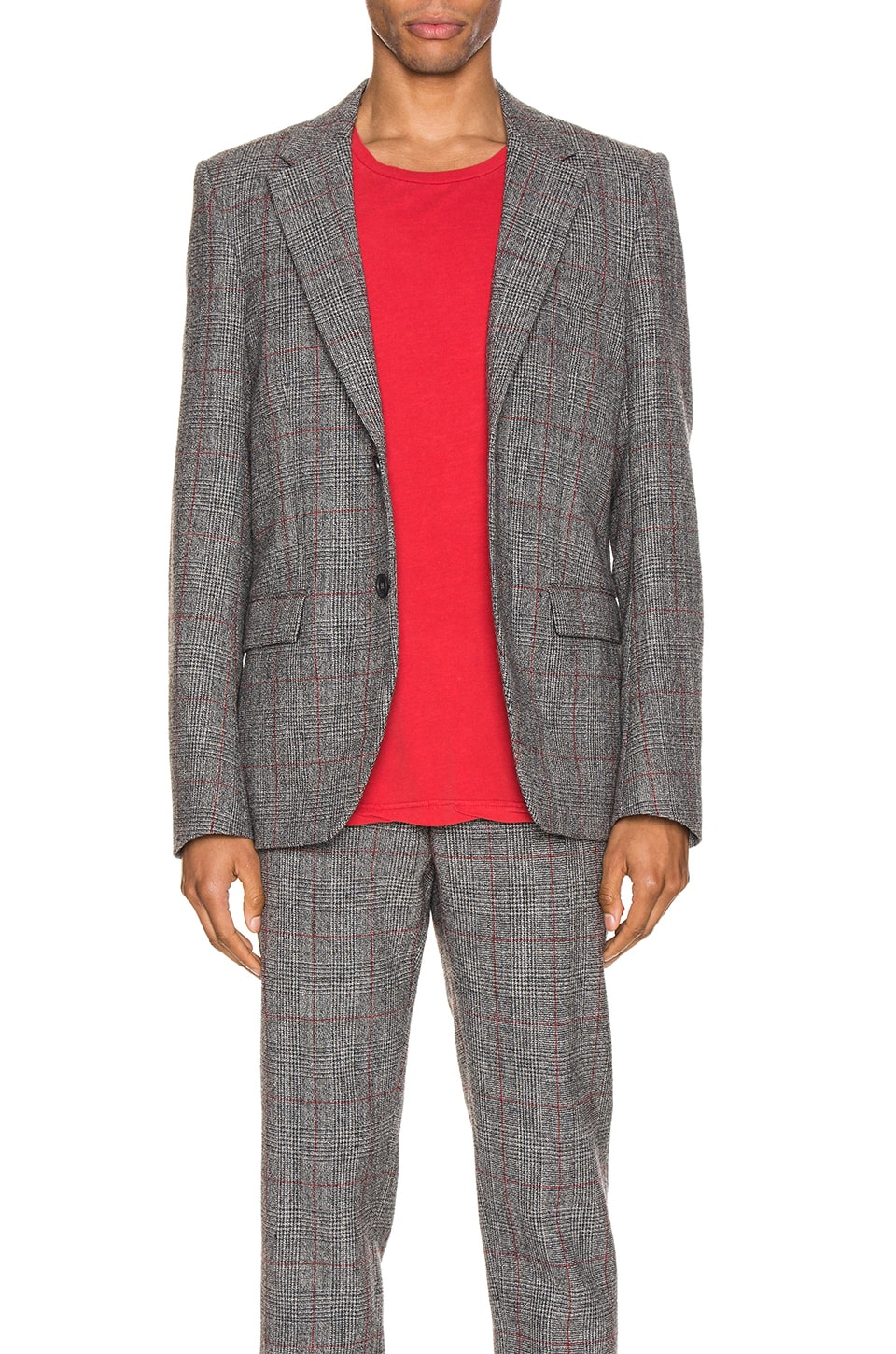 Helmut Lang Prince of Wales Blazer in Charcoal