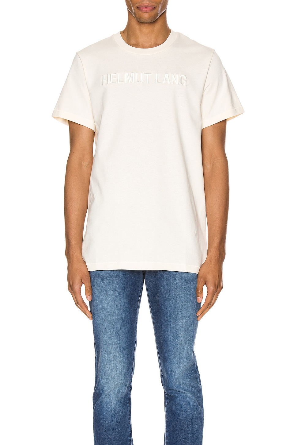 Helmut Lang Raised Embroidery Standard Tee in Pearl