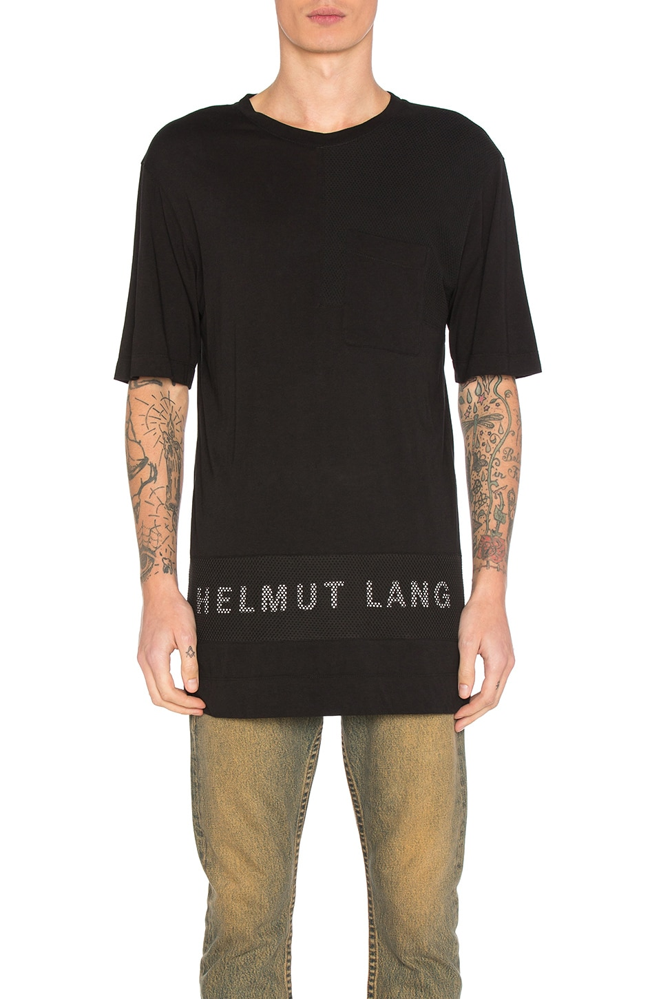 Mesh Combo Tee by Helmut Lang