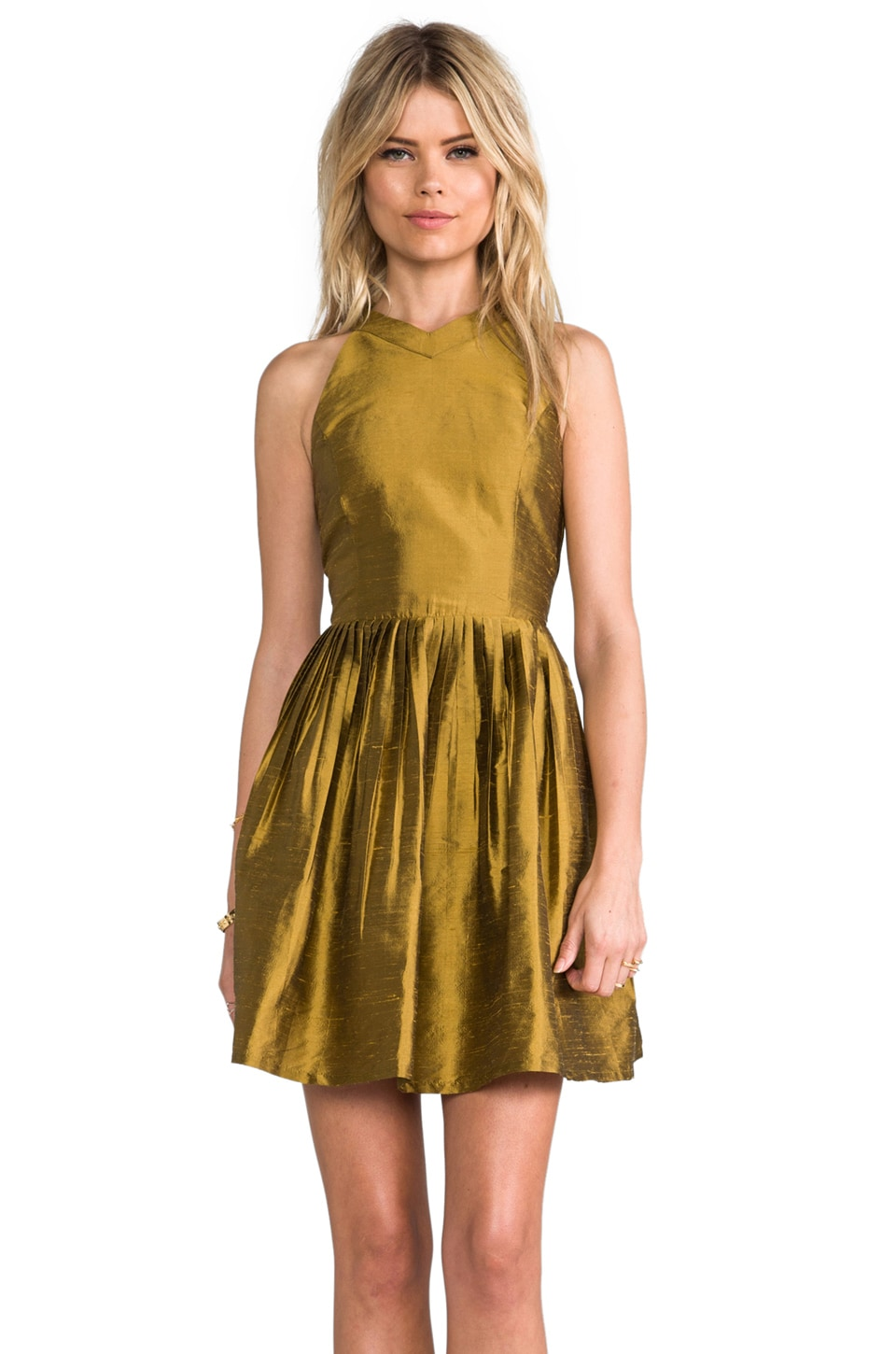 harlyn Pleated Cut Out Fit & Flare Dress in Gold