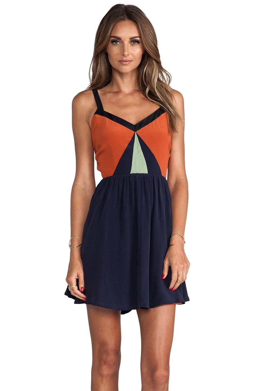 harlyn Blocked Strappy Dress in Cinnamon & Navy & Mint & Black