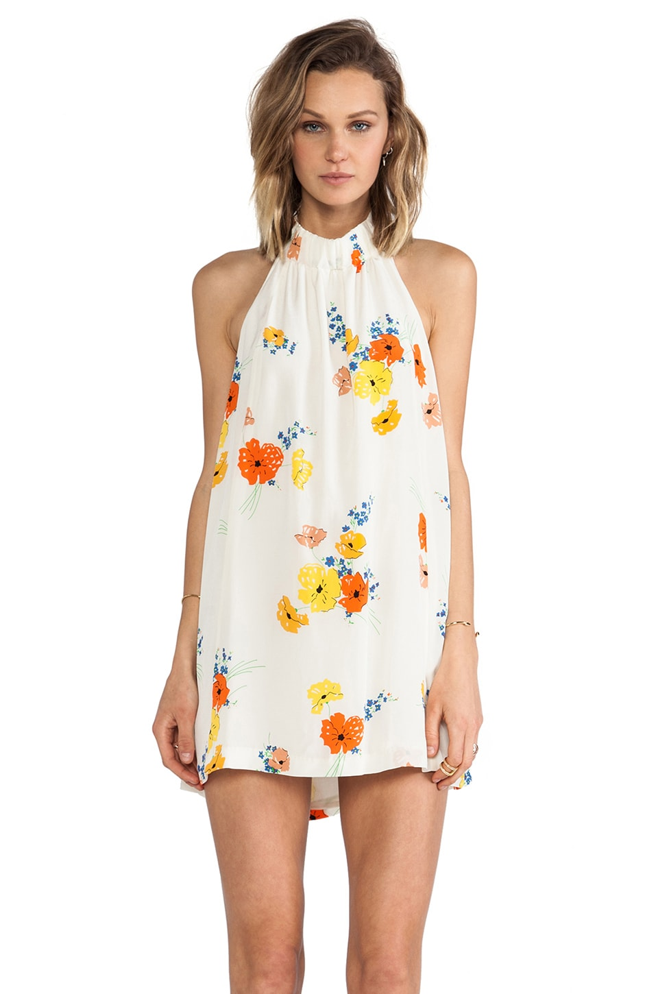 harlyn Strappy Trapeze Dress in Poppy Floral