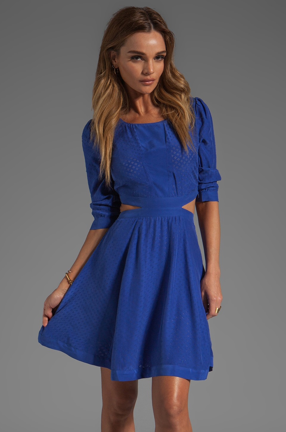 harlyn Peek-A-Boo Fit & Flare Dress in Blue